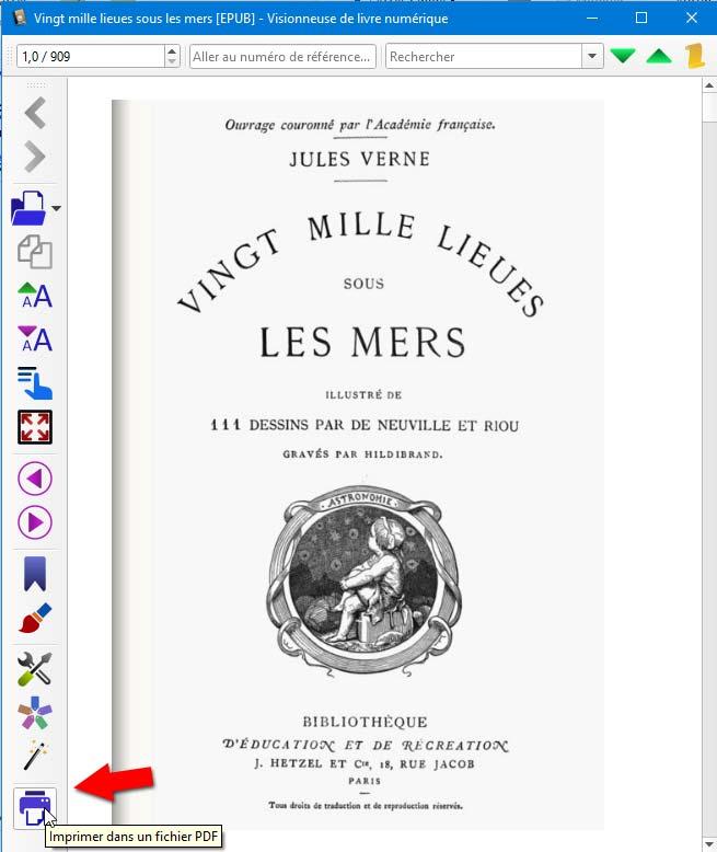 Bouton Convertir en PDF dans la liseuse de Calibre