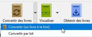 Bouton de conversion en PDF dans la bibliothèque de Calibre