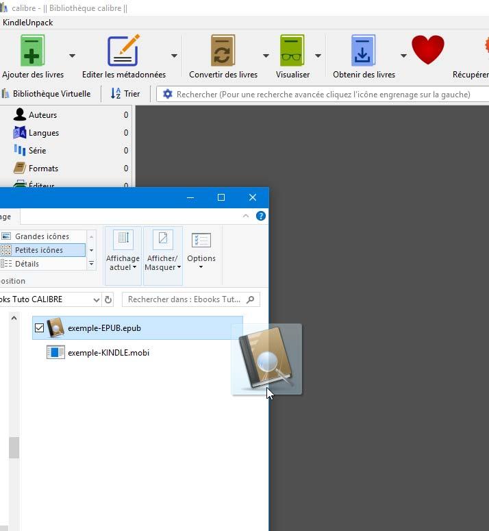 Importer un e-book ePub dans Calibre