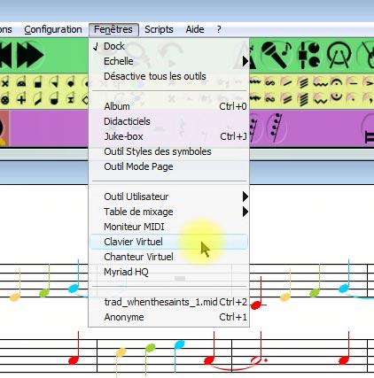 Affichage du clavier de piano virtuel dans Harmony Assitant - 1