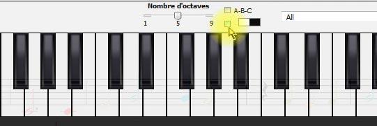 Affichage du clavier de piano virtuel dans Harmony Assitant - 2