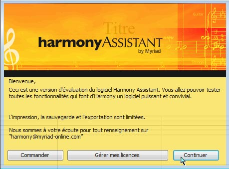 Premier lancement de Harmony Assistant - 3 options